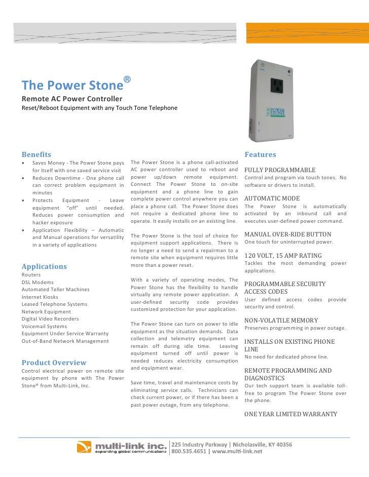 The PowerStone®     RemoteACPowerController     Reset/RebootEquipmentwithanyTouchToneTelephone     ...