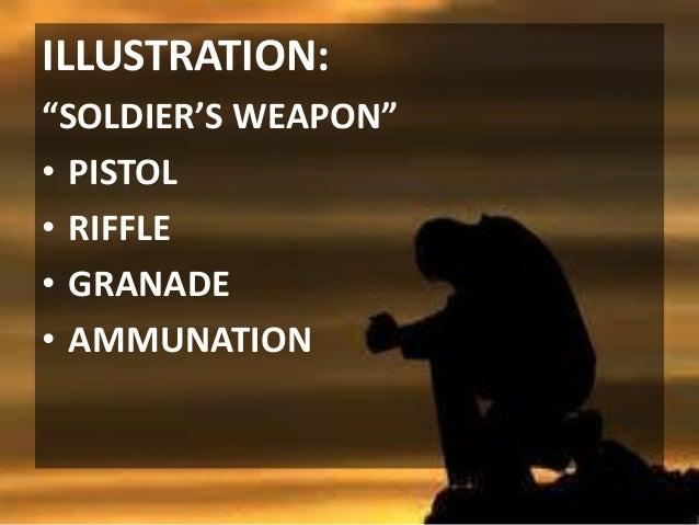 "ILLUSTRATION: ""SOLDIER'S WEAPON"" • PISTOL • RIFFLE • GRANADE • AMMUNATION"