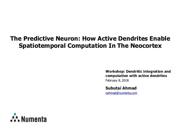 Workshop: Dendritic integration and computation with active dendrites February 8, 2018 Subutai Ahmad sahmad@numenta.com Th...