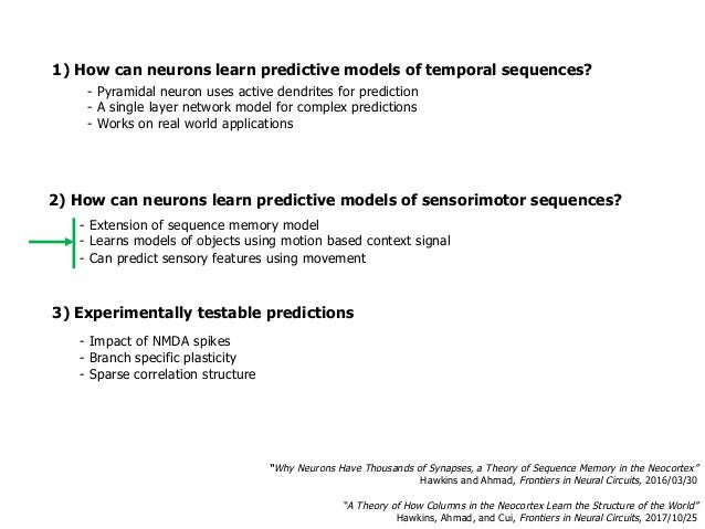 1) How can neurons learn predictive models of temporal sequences? 3) Experimentally testable predictions - Impact of NMDA ...