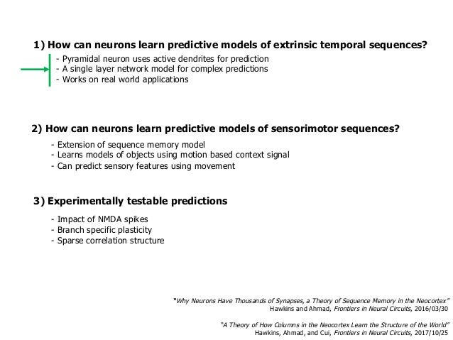 1) How can neurons learn predictive models of extrinsic temporal sequences? 3) Experimentally testable predictions - Impac...