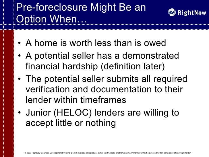 Superb ... 7. Pre Foreclosure ...