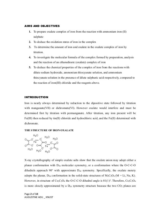 determination of iron by reaction with permanganate a redox titration essay From the reaction, iron iii oxalate  using both redox reaction between vitamin c  titration – potassium permanganate with ferrous ammonium sulfate.