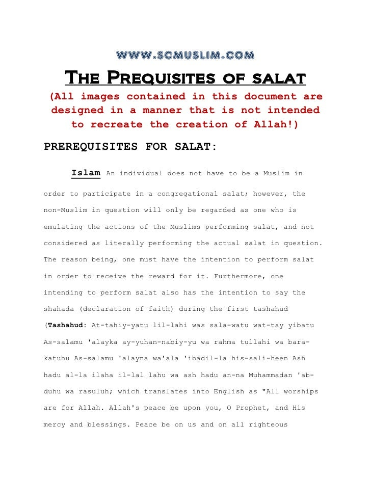 www.scmuslim.com    The Prequisites of salat (All images contained in this document are designed in a manner that is not i...