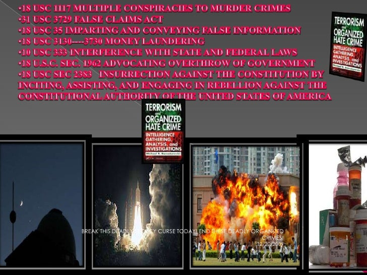 <ul><li>18 USC 1117 MULTIPLE CONSPIRACIES TO MURDER CRIMES