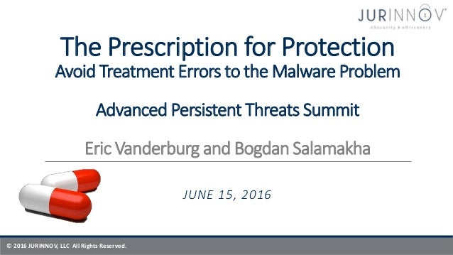 © 2016 JURINNOV, LLC All Rights Reserved. The Prescription for Protection Avoid Treatment Errors to the Malware Problem Ad...