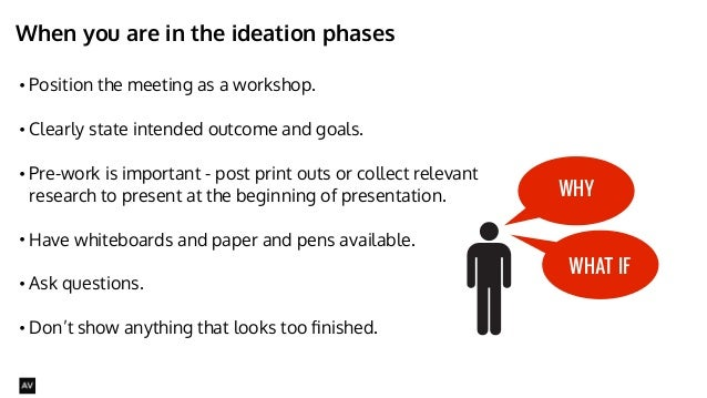 When you are in the ideation phases  • Position the meeting as a workshop.  • Clearly state intended outcome and goals.  •...