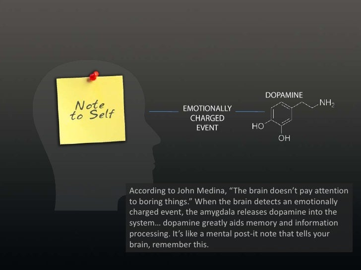 """DOPAMINE<br />EMOTIONALLY<br />CHARGED EVENT<br />According to John Medina, """"The brain doesn't pay attention to boring thi..."""