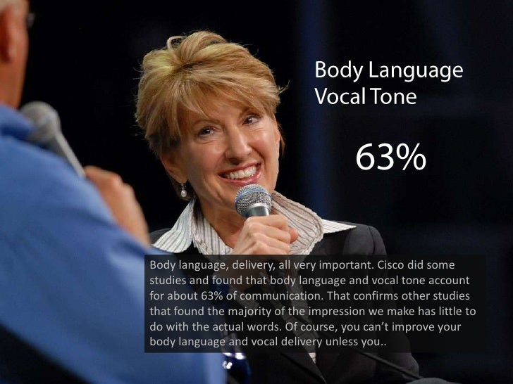 Body Language<br />Vocal Tone<br />63%<br />Body language, delivery, all very important. Cisco did some studies and found ...
