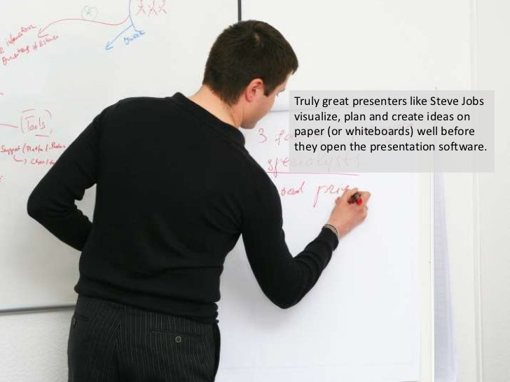 Truly great presenters like Steve Jobs visualize, plan and create ideas on paper (or whiteboards) well before they open th...