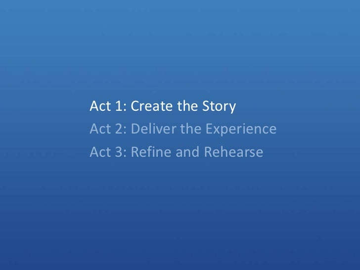 Act 1: Create the Story<br />Act 2: Deliver the Experience<br />Act 3: Refine and Rehearse<br />