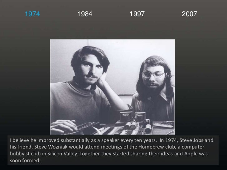 1974<br />1984<br />1997<br />2007<br />I believe he improved substantially as a speaker every ten years.  In 1974, Steve ...