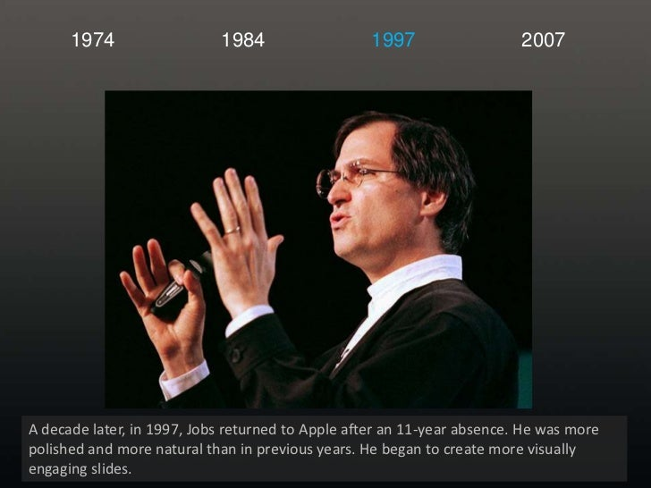 1974<br />1984<br />1997<br />2007<br />A decade later, in 1997, Jobs returned to Apple after an 11-year absence. He was m...
