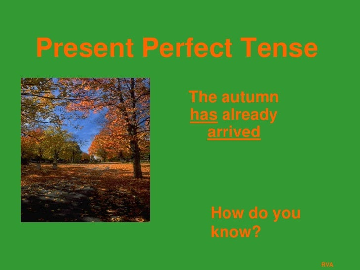 Present Perfect Tense           The autumn           has already             arrived             How do you             kn...