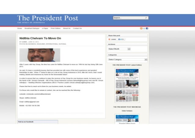 The President Post: Nidthia Chelvam To Move On - 22Jun2013