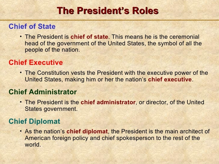 The PresidentS Job Description