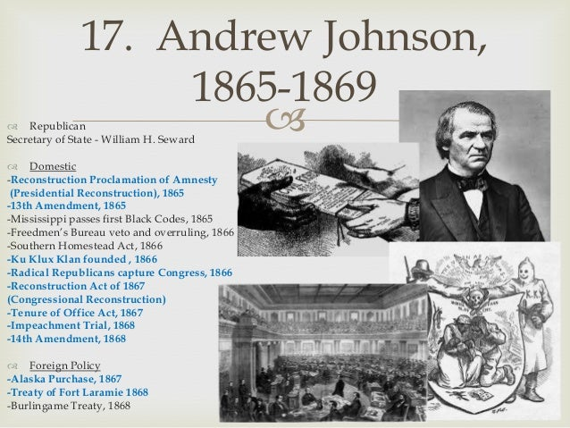 andrew johnson and the radical republicans politics essay The radical republicans believed blacks were entitled to the  senator charles sumner vigorously opposed andrew johnson's  radical reconstruction.