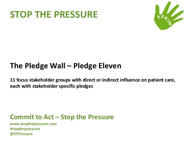 STOP THE PRESSURE  The Pledge Wall – Pledge Eleven 11 focus stakeholder groups with direct or indirect influence on patien...