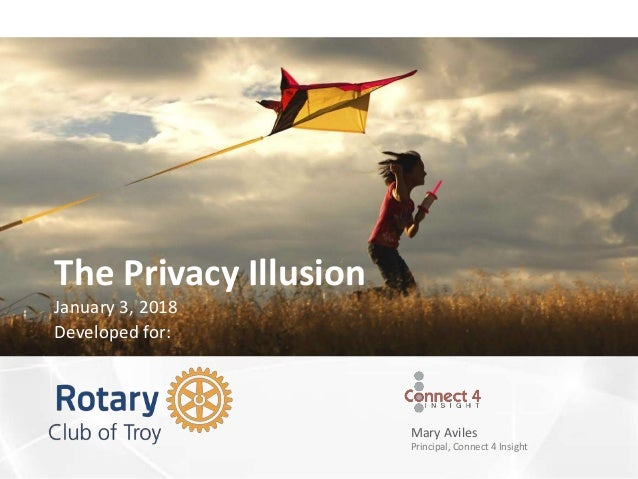 Mary Aviles Principal, Connect 4 Insight The Privacy Illusion January 3, 2018 Developed for: