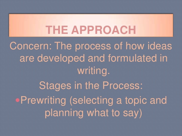 process writing approach Process writing approach, which allows the written product to be checked and  evaluated during the writing process, on students' writing success and anxiety.