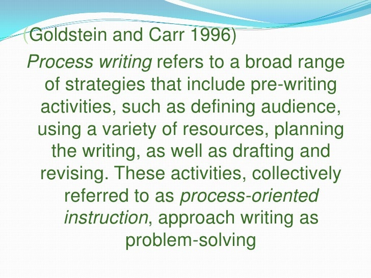 process oriented approach in writing Acquiring good academic research and writing skills early on is essential for your success both at university and in your professional life this course aims: - to give you an understanding of the conventions of academic writing in english and to teach you the components and benefits of what is called process writing.