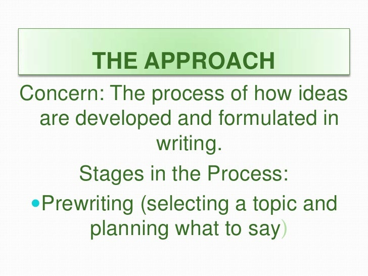 process approach writing Help your child use the writing process in every grade and learn how writing process steps can improve writing skills.