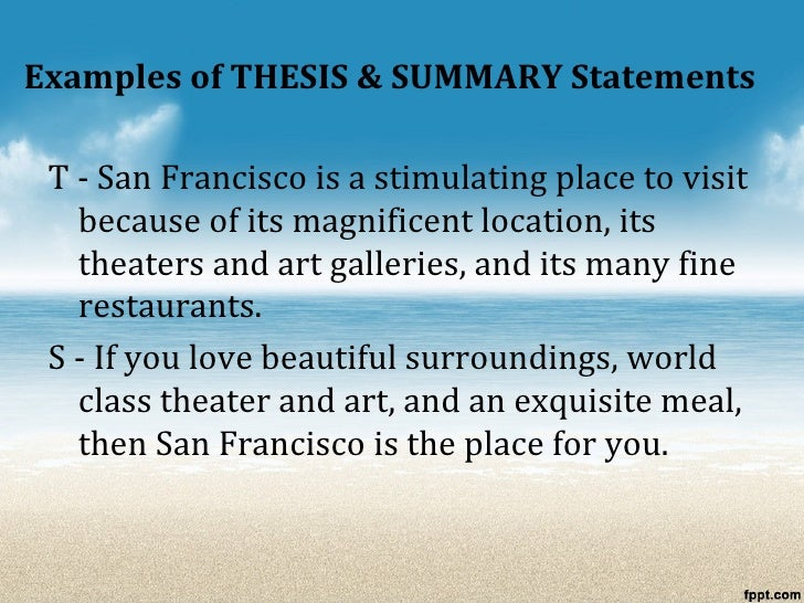 Nice 15. Examples Of THESIS U0026 SUMMARY Statements ...