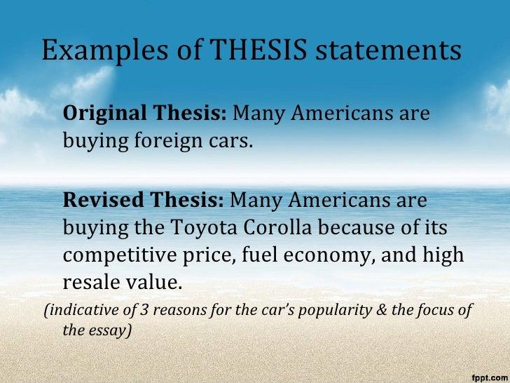 process analysis essay thesis statement