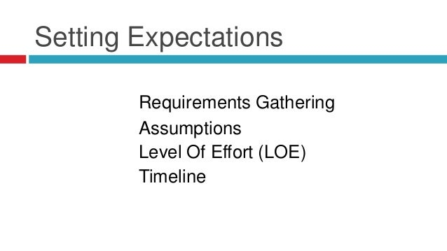 Setting Expectations Requirements Gathering Assumptions Level Of Effort (LOE) Timeline