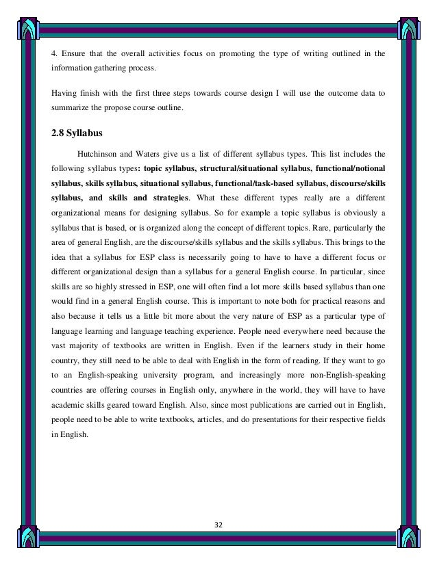 designing an esp course for metallurgists essay Propose to record the stages i have followed when designing an esp course for  1st  writing: structure of argumentative essay students write an essay on.