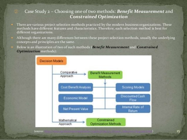 ②   Case Study 2 – Choosing one of two methods: Benefit Measurement and                              Constrained Optimizat...