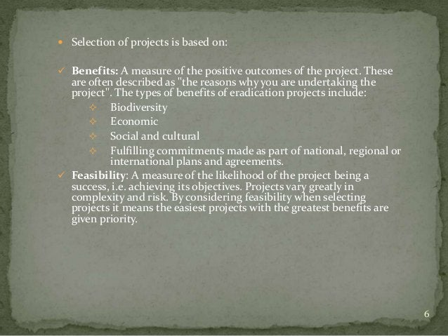  Selection of projects is based on: Benefits: A measure of the positive outcomes of the project. These  are often descri...
