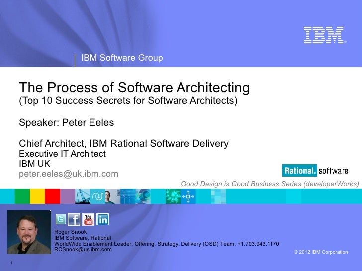 ®                     IBM Software Group    The Process of Software Architecting    (Top 10 Success Secrets for Software A...