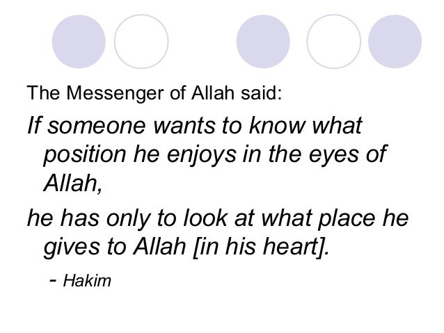 The Messenger of Allah said: If someone wants to know what position he enjoys in the eyes of Allah, he has only to look at...