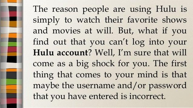 hulu account login password