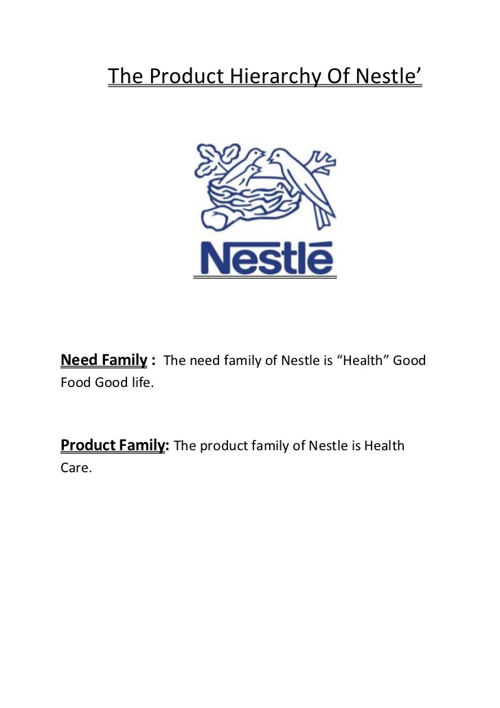 "The Product Hierarchy Of Nestle'Need Family : The need family of Nestle is ""Health"" GoodFood Good life.Product Family: The..."