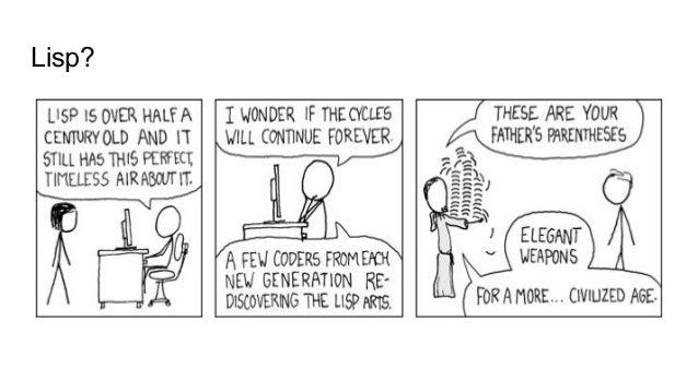 Lisp is a family of programming languages 1. CommonLisp 2. Scheme 3. Racket 4. Clojure 5. Hylang 6. Emacs Lisp - elisp 7. ...