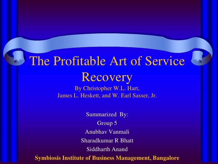 The Profitable Art of Service RecoveryBy Christopher W.L. Hart,James L. Heskett, and W. Earl Sasser, Jr.<br />Summarized  ...