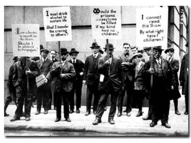 """the american eugenics movement The practice of legal forced sterilization was an outgrowth of the eugenics movement – the idea that the genetic quality of human populations should be improved by selective breeding practices, whereby society's elites would curtail unnecessary reproduction by the """"feeble-minded"""" (a term that in the early decades of the 20 th century ."""