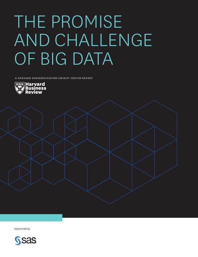 THE PROMISE AND CHALLENGE OF BIG DATA A HARVARD BUSINESS REVIEW INSIGHT CENTER REPORT  Sponsored by
