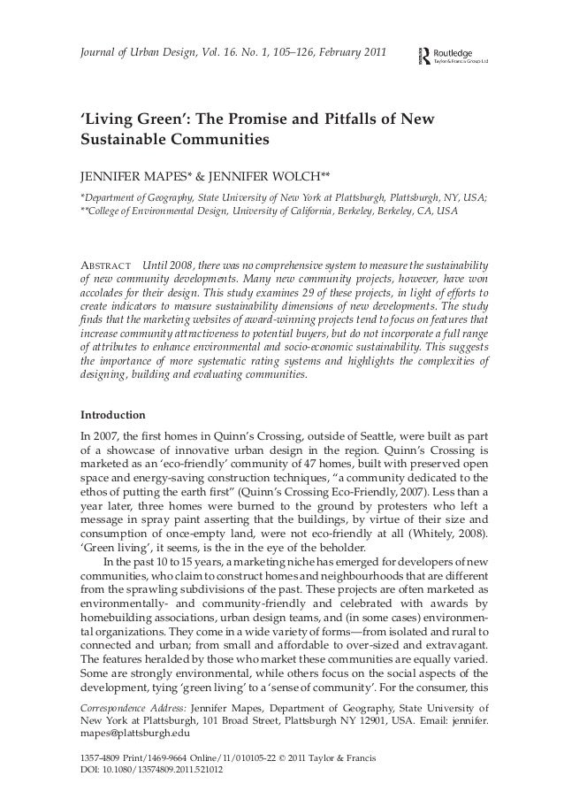 Journal of Urban Design, Vol. 16. No. 1, 105–126, February 2011'Living Green': The Promise and Pitfalls of NewSustainable ...
