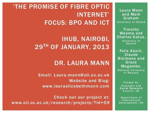 Laura Mannand MarkGrahamUniversity of OxfordTimothyWaema andCharles Katua,University ofNairobiFelix Akorli,ClaudeBizimana ...