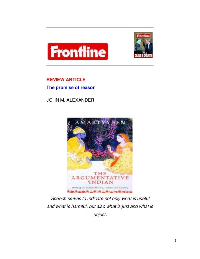 REVIEW ARTICLEThe promise of reasonJOHN M. ALEXANDER Speech serves to indicate not only what is usefuland what is harmful,...