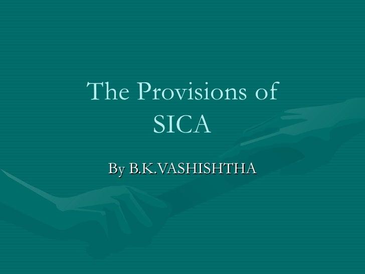 The Provisions of SICA By B.K.VASHISHTHA