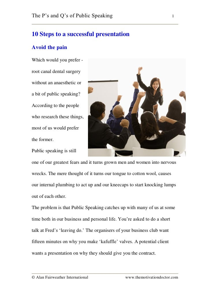 """The P""""s and Q""""s of Public Speaking                                        1    10 Steps to a successful presentation  Avoi..."""
