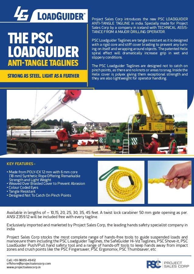 E PSC LOADGUIDER A I-TANGLE TAGLINES rong eel, lig a fê er Project Sales Corp introduces the new PSC LOADGUIDER ANTI-TANGL...