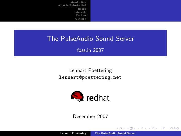 The Pulse Audio Sound Server