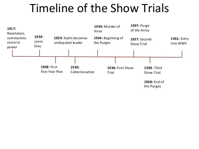 stalin show trials essay Purge trials: purge trials, three widely publicized show trials and a series of unpublicized trials held in the soviet union during the late 1930s.