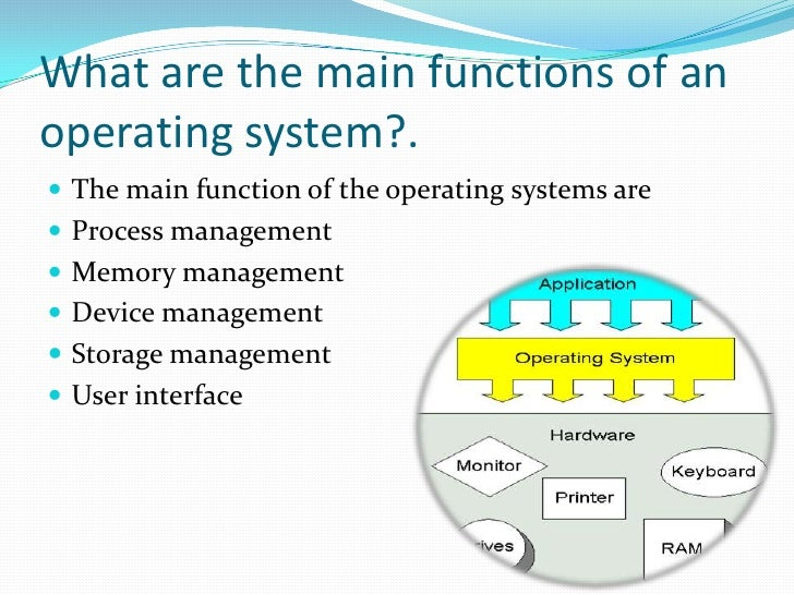 the main functions of an operating system The main functions of an operating system include process management, interrupts, memory management, a virtual file system, device drivers, networking, security and a user interface.