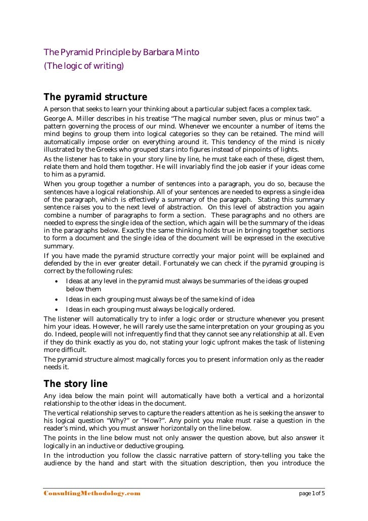 The Pyramid Principle by Barbara Minto(The logic of writing)The pyramid structureA person that seeks to learn your thinkin...